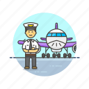 air, captain, fly, man, plane, profession, transportation, travel icon
