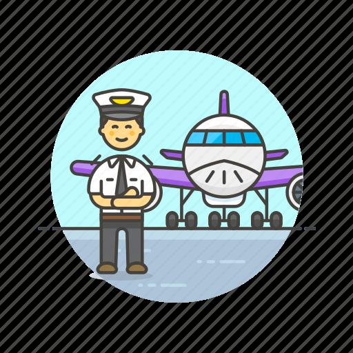 air, captain, fly, man, plane, profession, transportation, travel icon