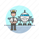 air, captain, fly, man, plane, transportation, vehicle icon