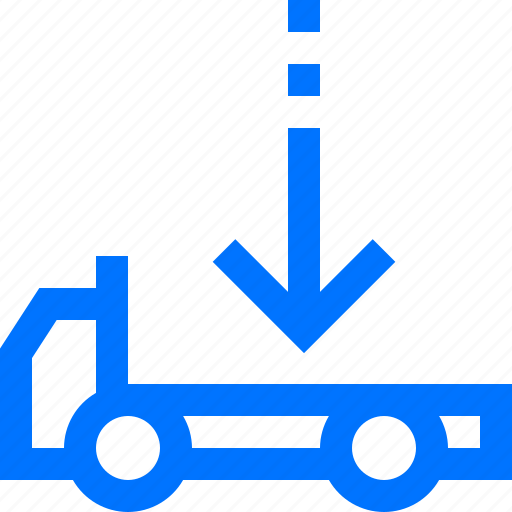 down, flatbed, logistic, place, transportation, truck, vehicles icon