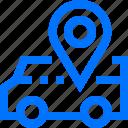 location, logistic, pin, transportation, van, vehicle icon