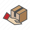 box, cargo, delivery, hand, package, shop, shopping icon