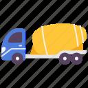 cement, construction, mixer, trailer, transport, truck, vehicle