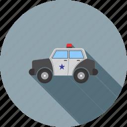 automobile, car, police, police man, siren, transport, vehicle icon