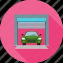 automobile, car, car shop, garage, parking spot, vehicle