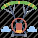 automobile, holiday, parachute, powered, transport, travel, vehicle