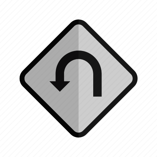 arrow, direction, diversion, navigation, traffic, u-turn icon
