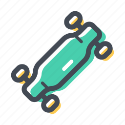 board, city transport, long board, skate, skateboard, transportation icon