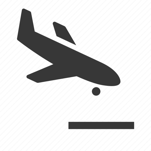 airplane, descending airplane, raw, simple, transport, transportation, travel icon
