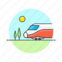 nature, railway, sun, train, transportation, travel, vehicle icon