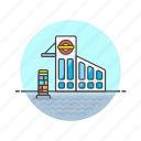 buidling, bus, station, terminal, transportation, travel icon