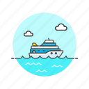 cruise, ferry, marine, sea, ship, transportation, travel icon