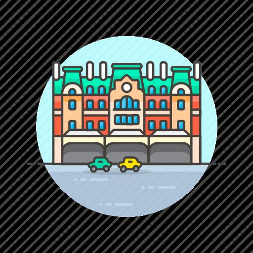 building, car, metropolis, road, transportation, travel icon