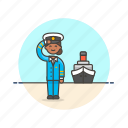captain, crew, marine, sea, ship, transportation, woman icon