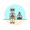 captain, crew, man, marine, sea, ship, transportation icon