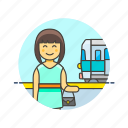 passenger, railway, terminal, train, transit, transportation, travel, woman icon