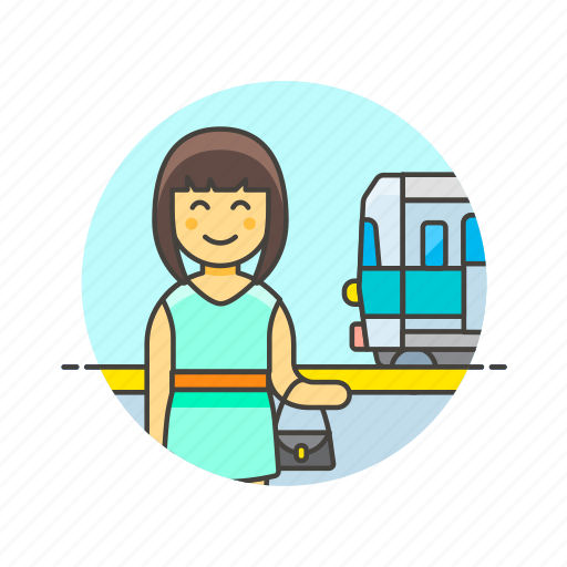 passenger, railway, terminal, train, transit, transportation, travel, woman icon