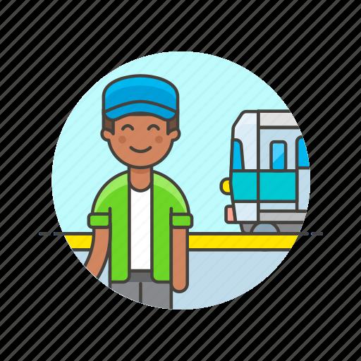 man, passenger, railway, terminal, train, transit, transportation, travel icon