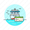 cruise, ferry, ship, ticket, transit, transportation, travel, water icon