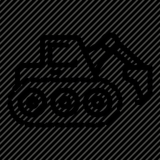caterpillar, construction, digger, equipment, excavator, industrial, transportation icon