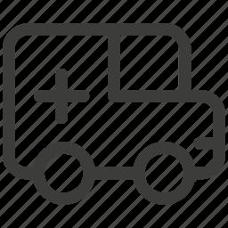 ambulance, auto, bus, car, hospitalized, transport, transportation icon
