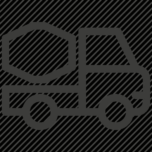 auto, automobile, car, concrete, mixer, transportation, truck icon
