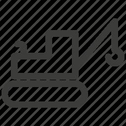 bulldozer, car, crane, excavator, lift, tractor, transportation icon