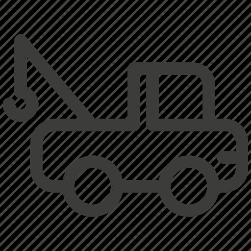 auto, car, crane, lift, tow, transportation, truck icon