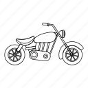 bike, line, motor, motorcycle, outline, speed, wheel icon