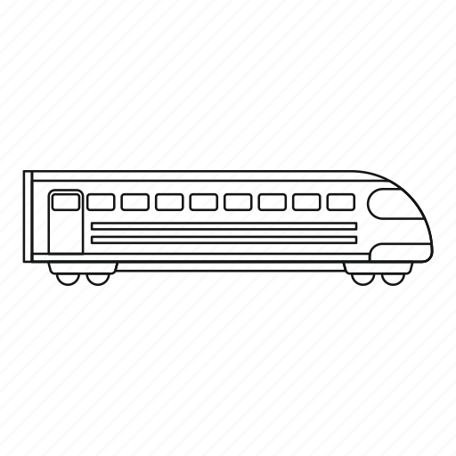 line, modern, outline, rail, speed, train, travel icon