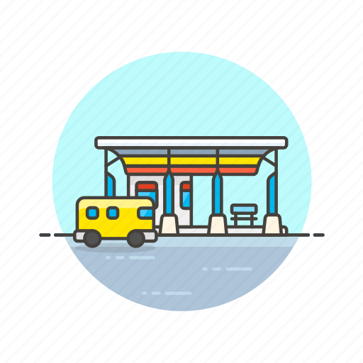bus, road, station, stop, terminal, transportation, vehicle icon