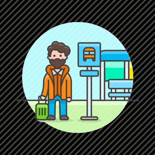 bus, man, road, stop, transportation, travel, wait icon