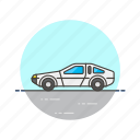 automobile, car, road, transportation, vehicle, white icon