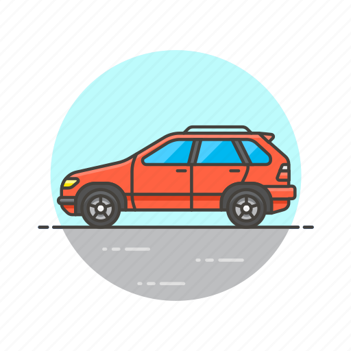 automobile, car, red, road, transportation, vehicle icon