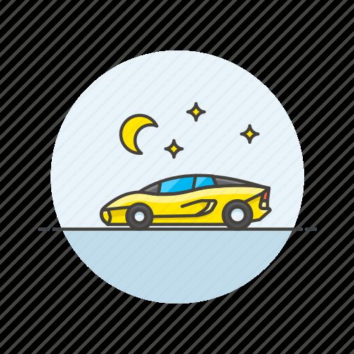 automobile, car, ferrari, road, sport, transportation, vehicle, yellow icon