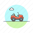 automobile, car, jeep, red, road, transportation, vehicle icon