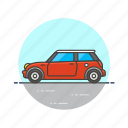 automobile, car, couper, mini, red, road, transportation, vehicle icon