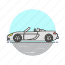 automobile, car, convertible, road, sport, transportation, vehicle, white icon