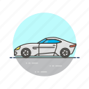 automobile, car, road, sport, transportation, vehicle, white icon