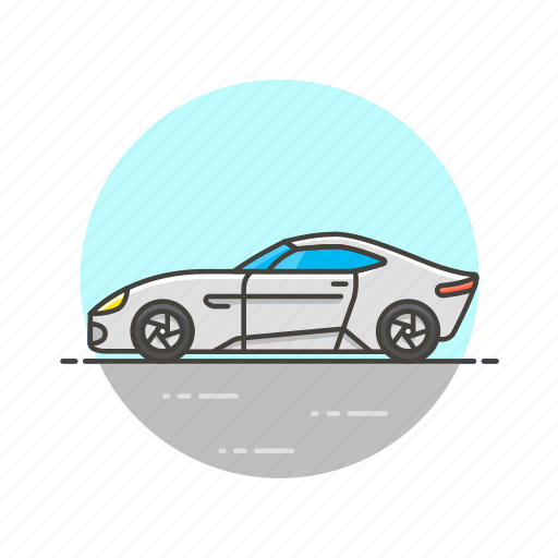 automobile, car, road, sport, transportation, vehicle, white icon