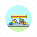 gas, road, station, transportation icon