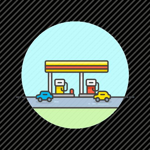 building, fuel, gas, petrol, road, station, transportation icon