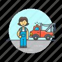 car, crane, help, mechanic, road, transportation, vehicle, woman icon