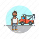 car, crane, man, mechanic, road, transportation, vehicle icon