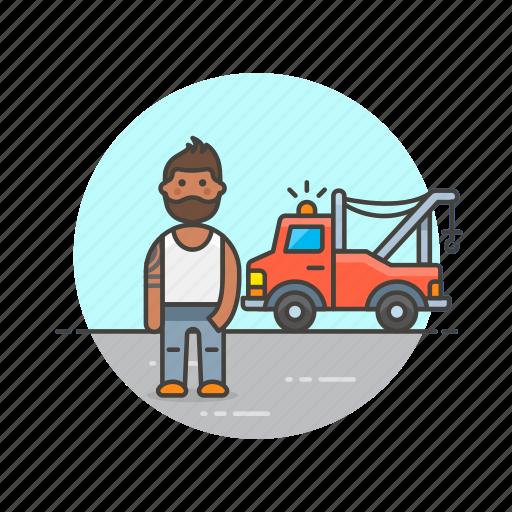 car, crane, man, mechanic, road, transportation, vehicle icon