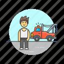car, crane, help, man, mechanic, road, transportation, vehicle icon