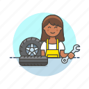 change, mechanic, road, spanner, tire, transportation, wheel, woman icon