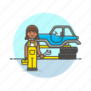 automobile, check, mechanic, road, spanner, tire, transportation, vehicle icon