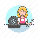 car, mechanic, road, spanner, tire, transportation, wheel, woman icon