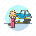 car, fix, mechanic, road, spanner, tire, transportation, woman icon